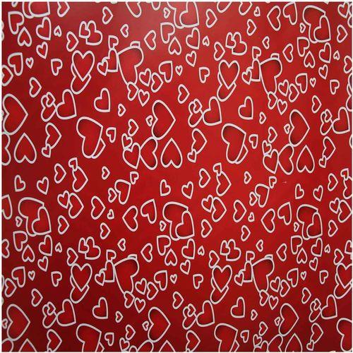 کاغذ کادو گلاسه طر ح قلب سفید بسته 4 عددی