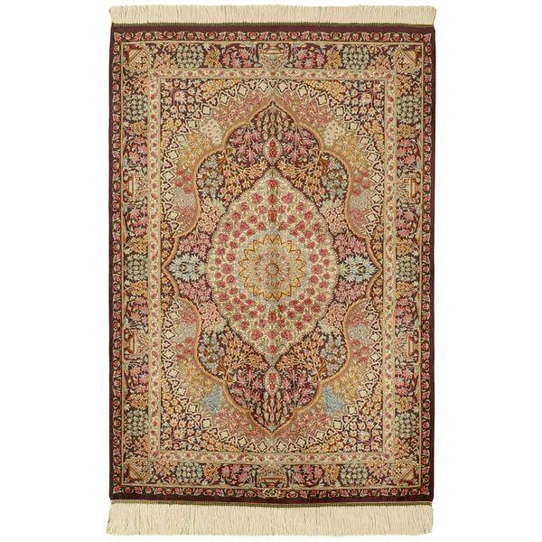 فرش دستبافت تمام ابریشم یک متری گالری مدرن کد 30006