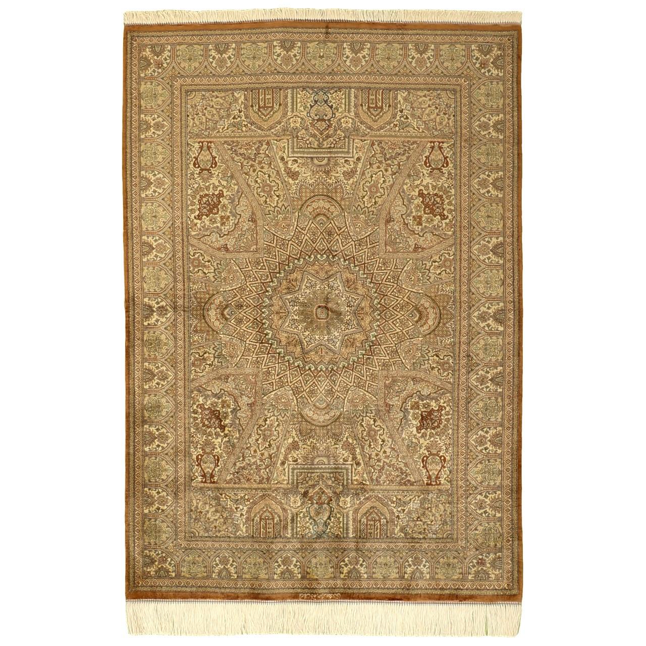 فرش دستبافت تمام ابریشم یک و نیم متری گالری مدرن کد 30001