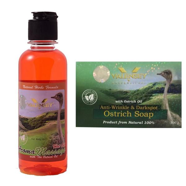 پک صابون و روغن ماساژ شتر مرغ والنسی مدل Ostrich Oil مقدار 300 گرم