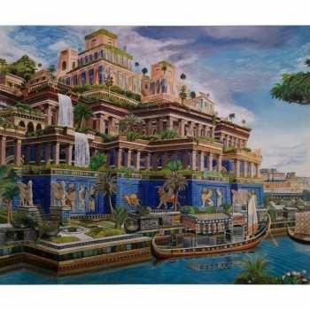 تابلو نقاشی رنگ روغن مدل باغ بابل