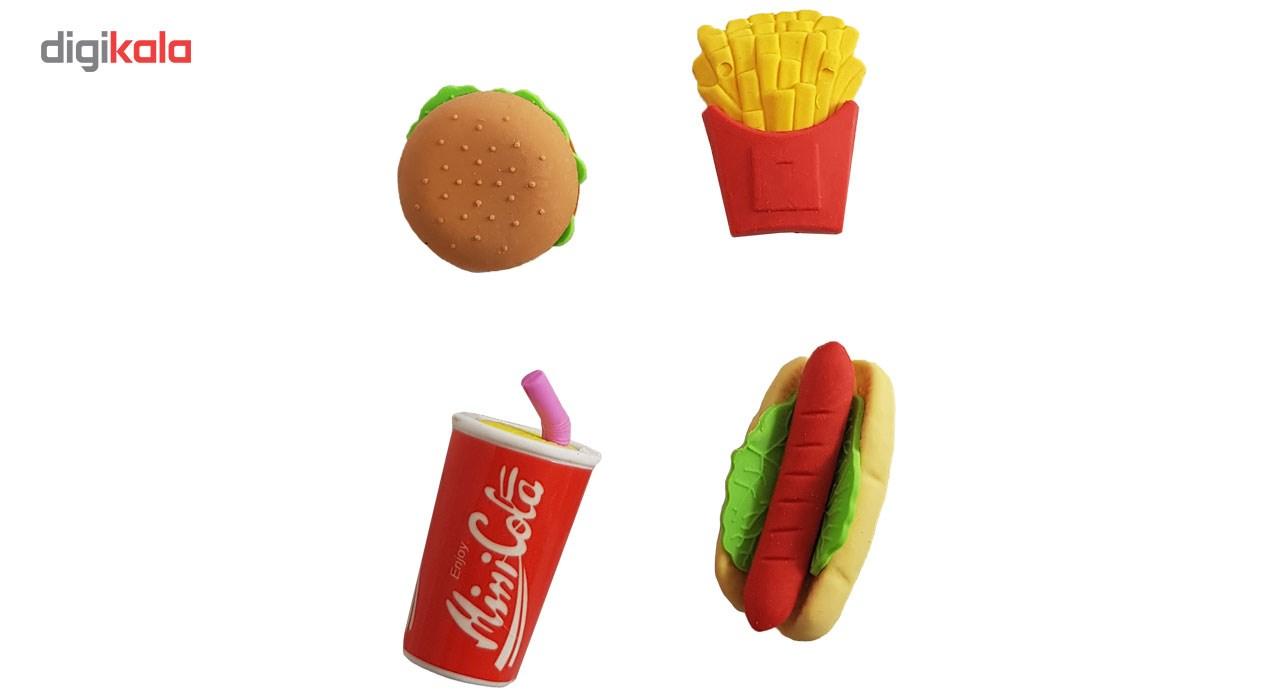 پاکن نوولتی مدل Erasers Fast Food بسته 4 عددی