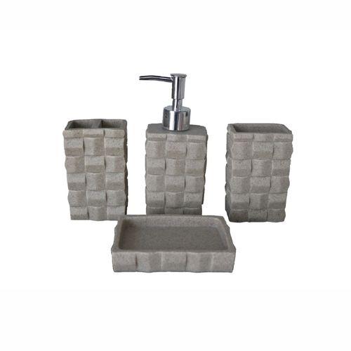 ست سرویس بهداشتی خانه سفید  مدل شطرنجی طرح سنگی