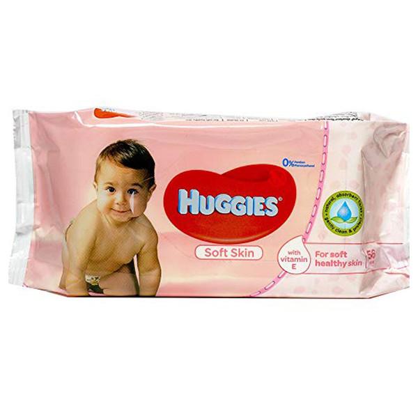 دستمال مرطوب پاک کننده کودک هاگیز مدل Soft Skin بسته 56 عددی