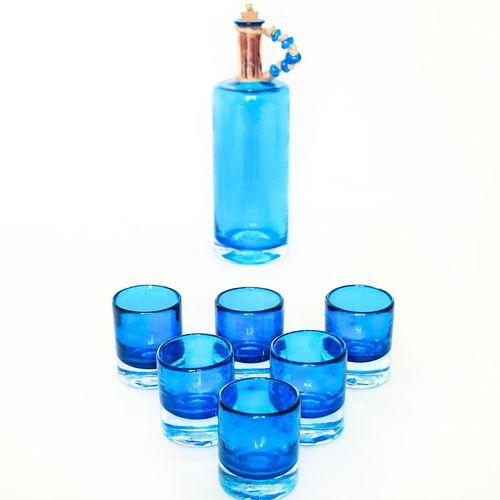 بطری و استکان گالری انار مدل باران مجموعه 7 عددی