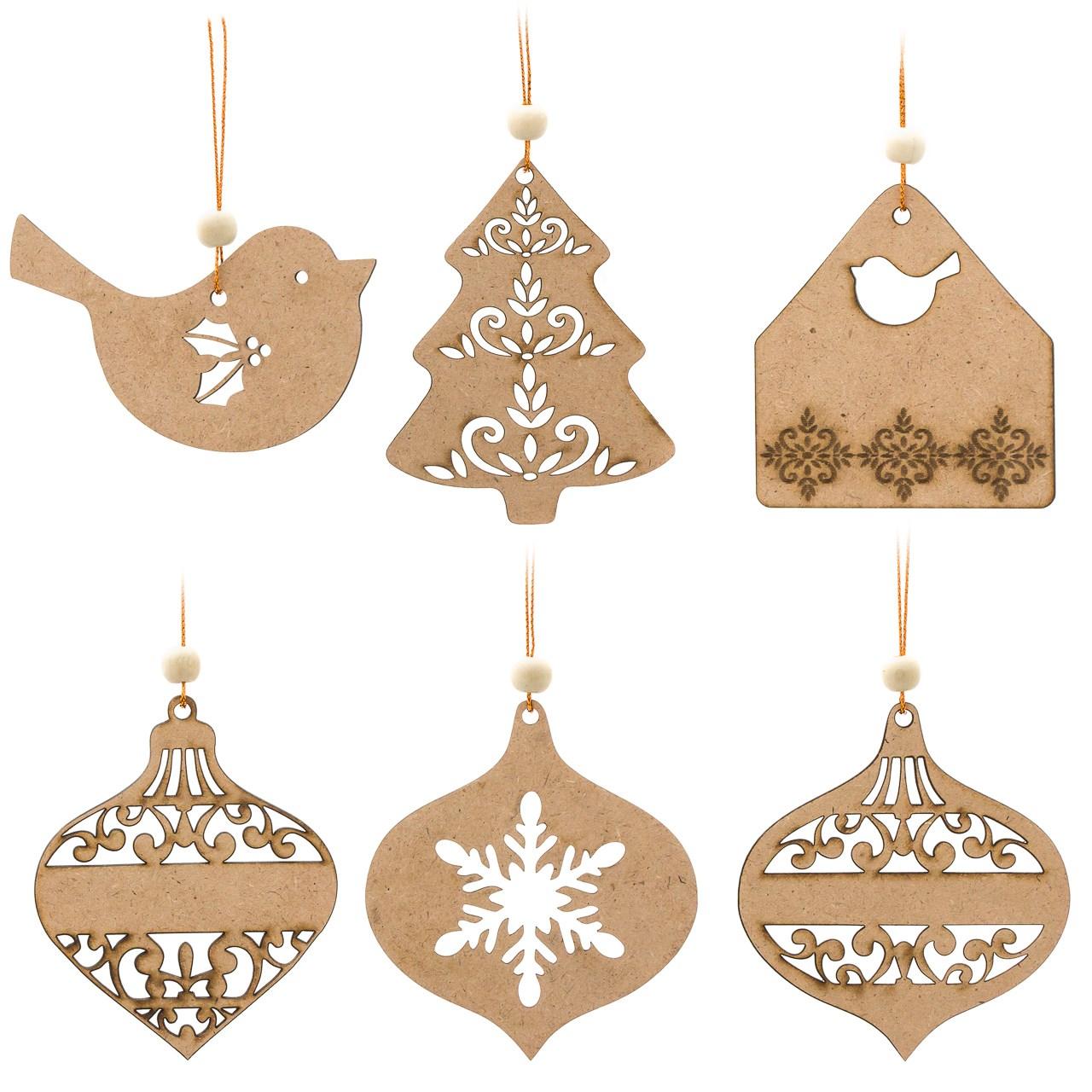 عکس تزیینات چوبی درخت کریسمس کارول مدل کریسمس کد CAH004 مجموعه 6 عددی