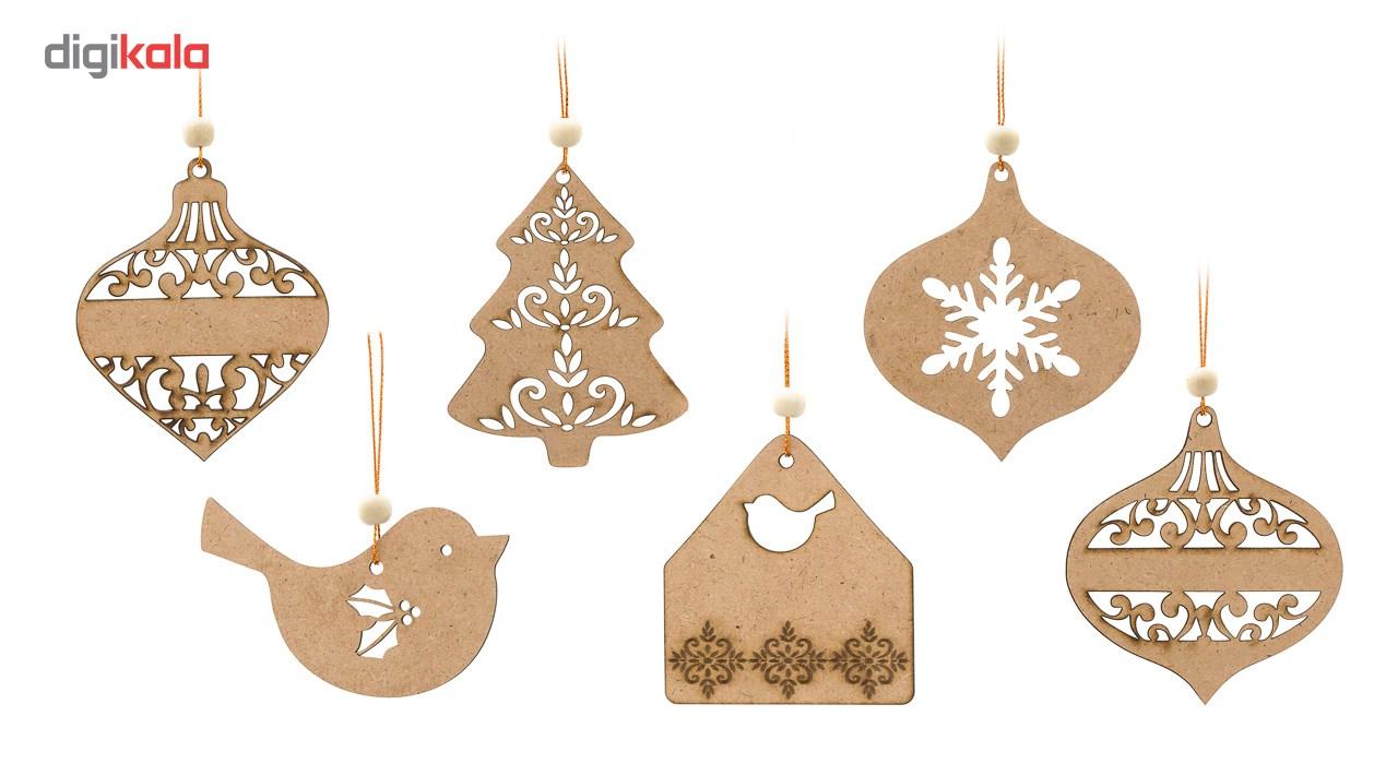 تزیینات چوبی درخت کریسمس کارول مدل کریسمس کد CAH004 مجموعه 6 عددی