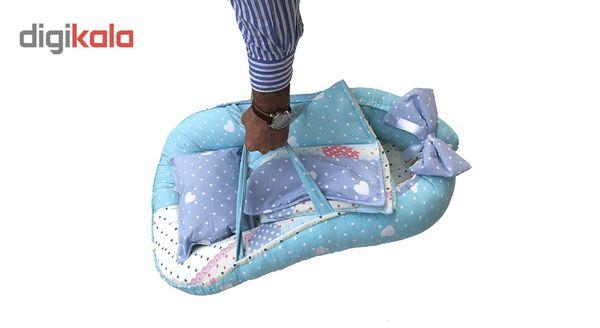 سرویس 3 تکه خواب نوزادی لبه دار سیبیل کوچولو کد MS01