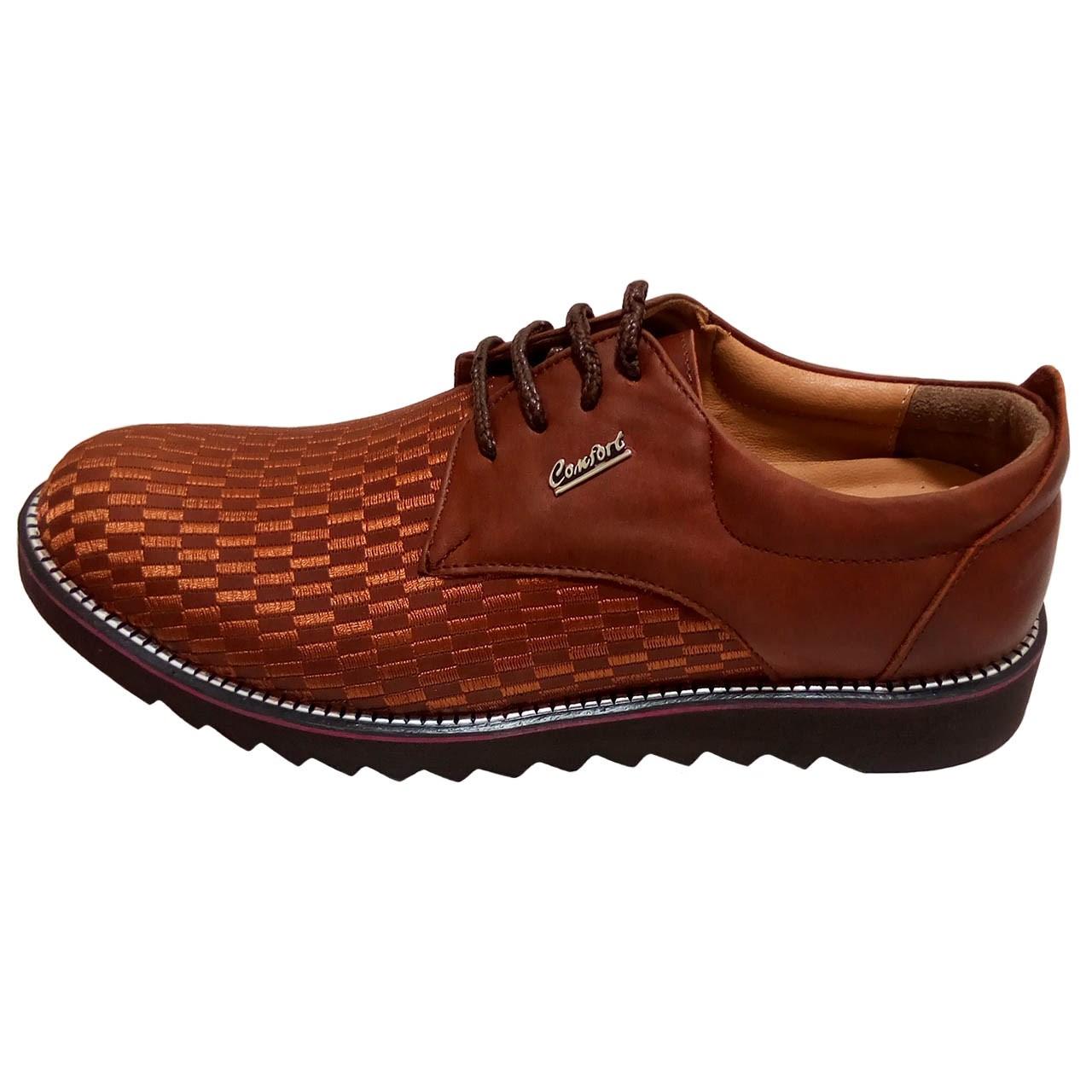 کفش مردانه چرم طبیعی طرح دار  مدل 002