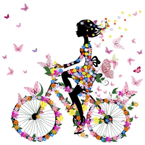 استیکر  دیواری  ژیوار طرح دختر دوچرخه سوار