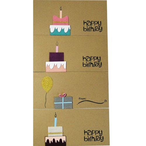 پاکت هدیه طرح Fantastic Art کد 02 بسته 4 عددی همراه 4 عدد قلب چوبی جفتی