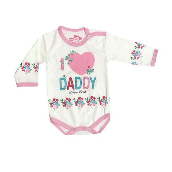 بادی آستین بلند نوزادی مدل love Dady