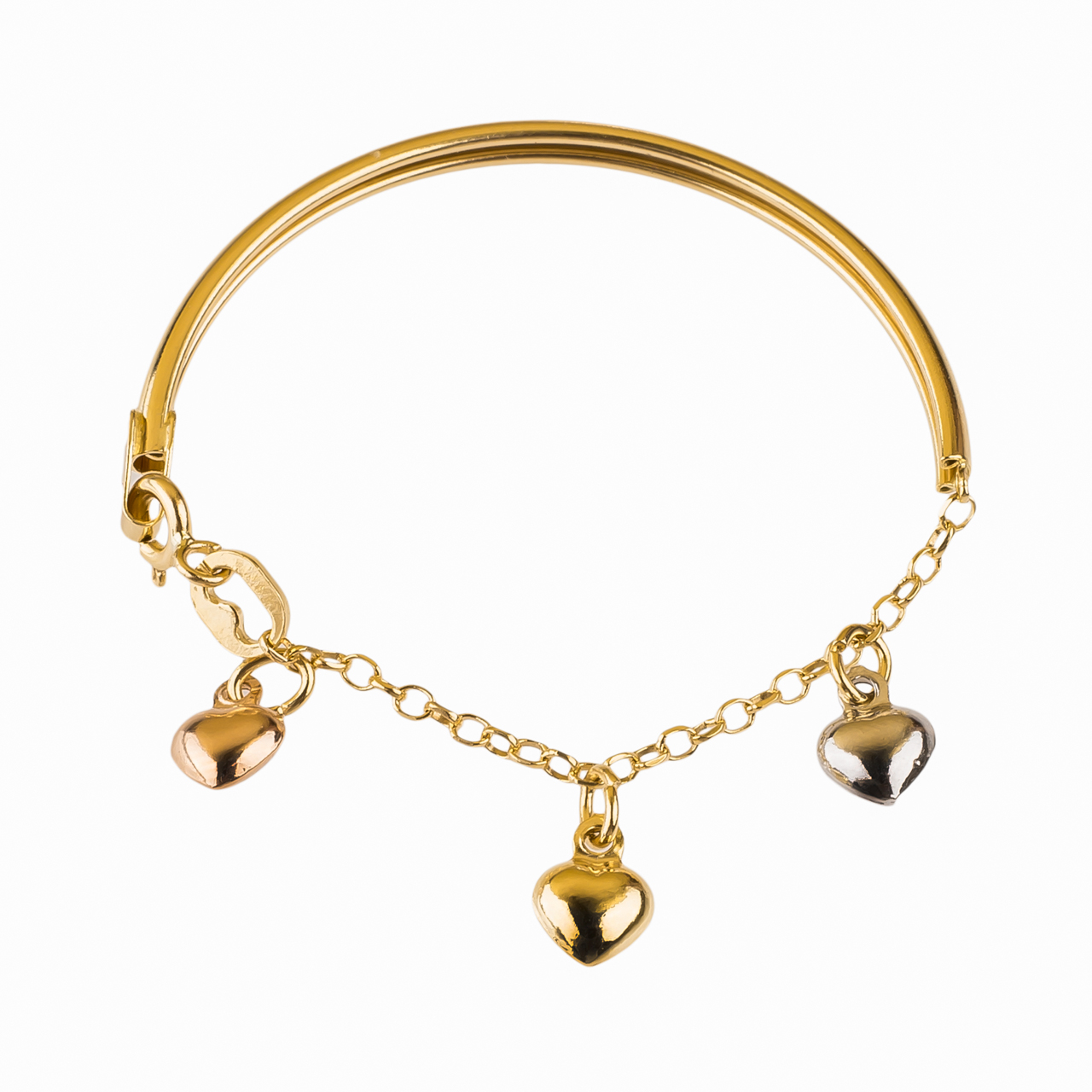 دستبند بچه گانه طلا 18عیار گالری طلاچی مدل آویز قلب
