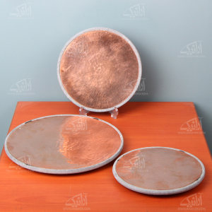 تخته سرو آرانیک گرد سنگی تزئین با مس رنگ خاکستری طرح ساده مدل 1009600008