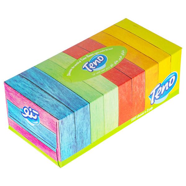 دستمال کاغذی 150 برگ تنو طرح راه راه رنگی