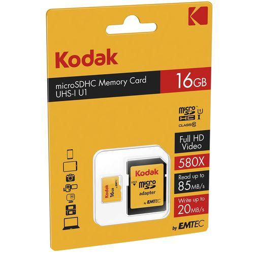 کارت حافظه microSDHC کداک مدل UHS-I U1 کلاس 10 سرعت 85MBps همراه با آداپتور ظرفیت 16 گیگابایت