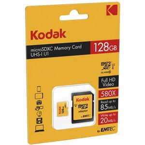 کارت حافظه microSDXC کداک مدل UHS-I U1 کلاس 10 سرعت 85MBps همراه با آداپتور ظرفیت 128 گیگابایت
