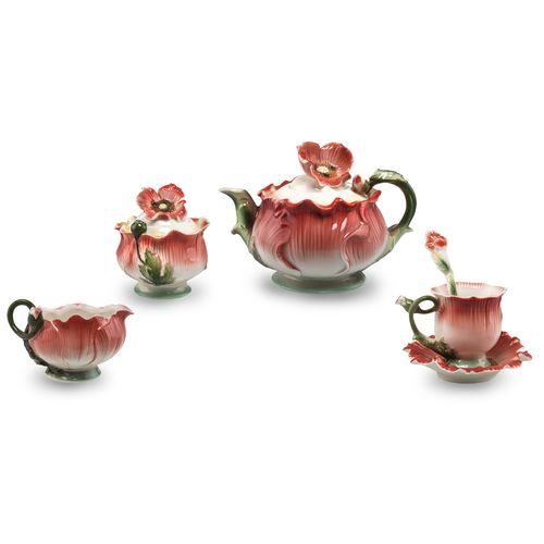 سرویس چای خوری 33 پارچه طرح گل شقایق مدل 5040