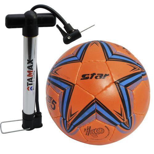 توپ فوتبال مدل استار  نارنجی همراه با تلمبه تامکس