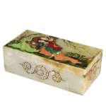 جعبه سنگ مرمر اثر بابائی با نگارگری لیلی و مجنون پرکار سایز 9x18 سانتی متر کد 10