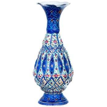 گلدان مسی میناکاری شده اثر شیرازی طرح 1 ارتفاع 16 سانتیمتر