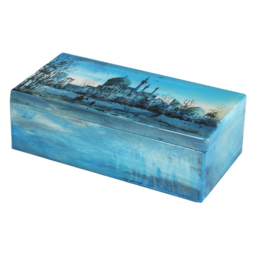 جعبه سنگ مرمر اثر بابائی با آبرنگ ابنیه سایز 9x18 سانتی متر کد 13