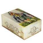 جعبه سنگ مرمر اثر بابائی با نگارگری لیلی و مجنون سایز 10x15  سانتی متر کد 14