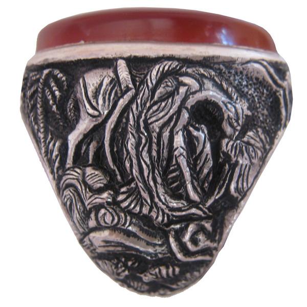 انگشتر نقره جواهرسرا مدل عقیق سرخ یمنی