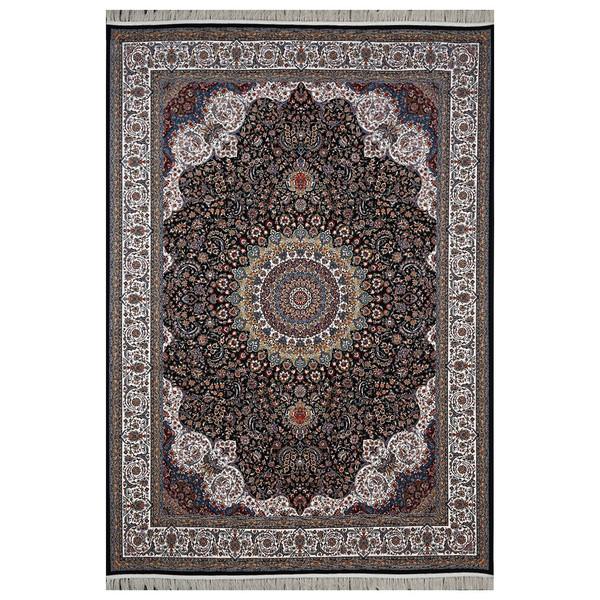 فرش ماشینی  فرش هدیه طرح کاشان زمینه سورمه ای