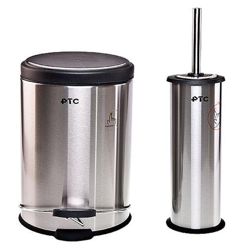 ست سطل زباله و برس پی تی سی مدل 505 ظرفیت 5 لیتر