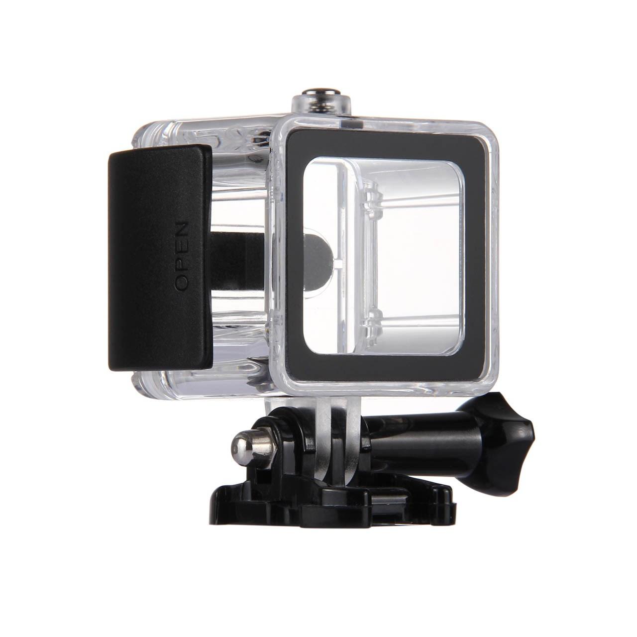 بررسی و {خرید با تخفیف}                                     کاور ضد آب پلوز مدل Waterproof Housing مناسب برای دوربین ورزشی گوپرو هیرو سشن 4 و 5                             اصل