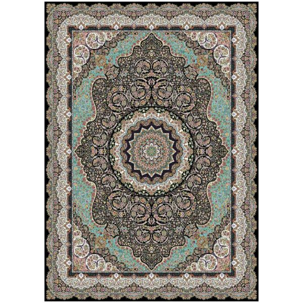 فرش ماشینی ماندگار پارس طرح آذرخش زمینه سورمه ای