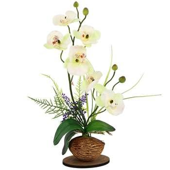 گلدان به همراه گل مصنوعی هومز طرح ارکیده مدل 34231