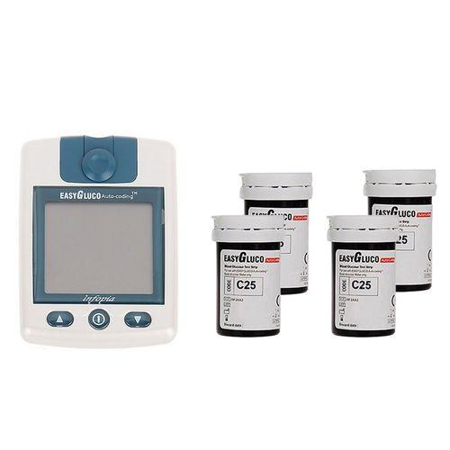 دستگاه تست قند خون اینفوپیا مدل EasyGluco به همراه 4 بسته نوار 25 عددی
