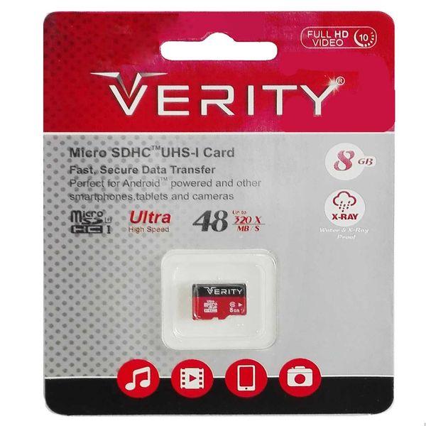 کارت حافظه microSDHC وریتی کلاس 10 استاندارد UHS-I U1 سرعت 48MBps همراه با آداپتور SD ظرفیت 8 گیگابایت   Verity  UHS-I U1 Class 10 48MBps microSDHC With Adapter 8GB