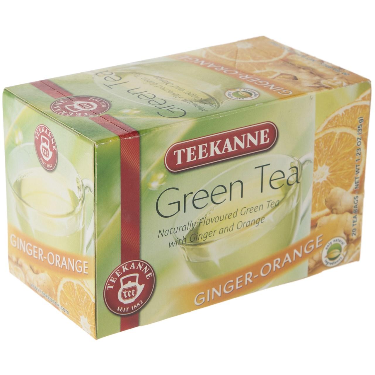 چای کیسه ای تی کانه مدل Green Tea Ginger Orange بسته 20 عددی