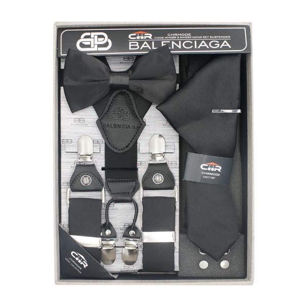 ست کراوات و پاپیون و ساسبند سی اچ آر مدل MH090BK