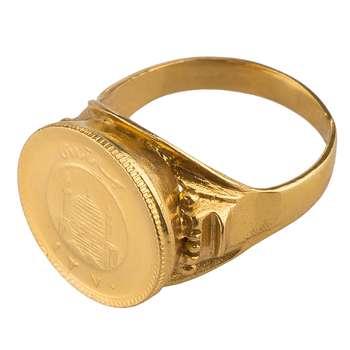 انگشتر طلا 18 عیار گالری طلاچی مدل سکه ربع بهار آزادی