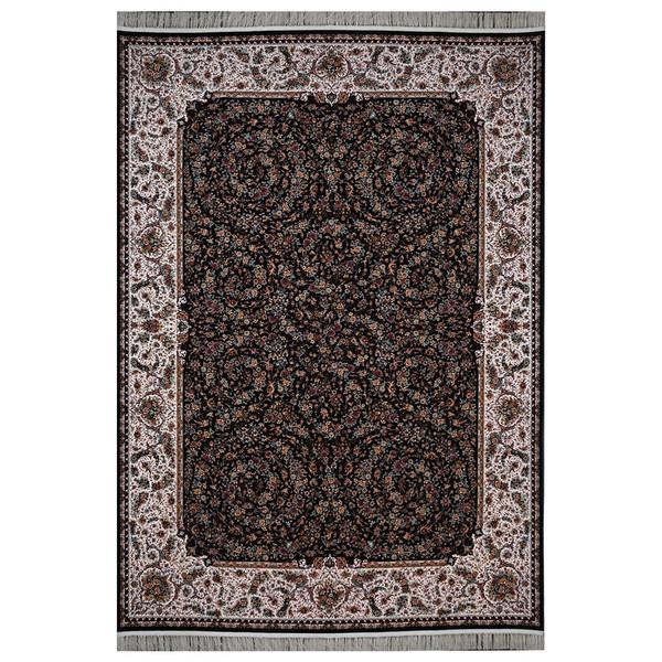 فرش ماشینی فرش هدیه طرح گل فرنگ زمینه سورمه ای
