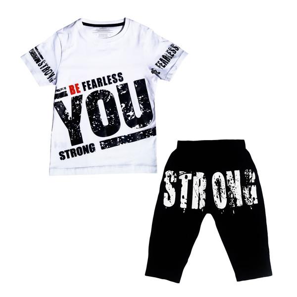 ست تی شرت و شلوارک بچگانه مدل 10101-2