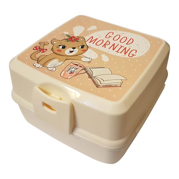 ظرف غذا 3 تکه کودک هوبی لایف مدل گربه ملوس