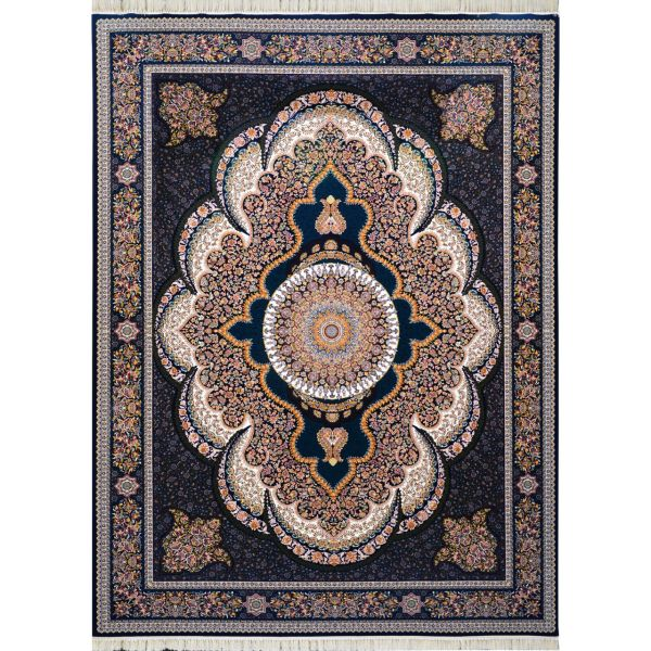 فرش ماشینی احتشامیه طرح آرشیدا زمینه سورمه ای