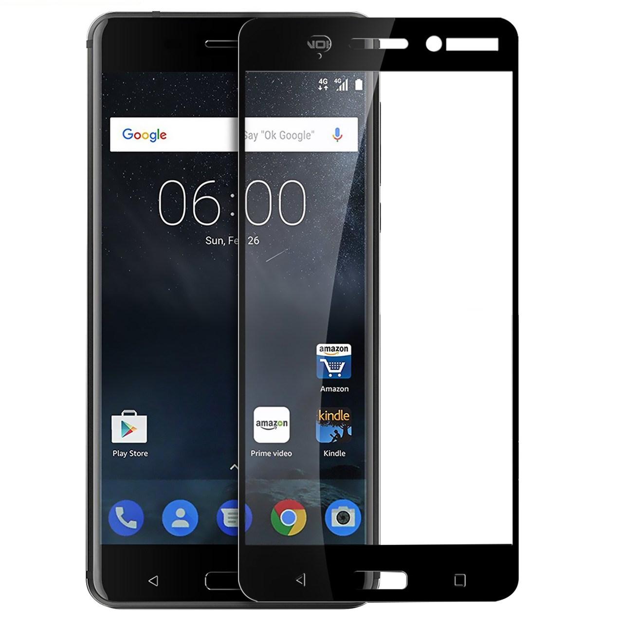محافظ صفحه نمایش شیشه ای تمپرد مدل Full Cover مناسب برای گوشی موبایل  نوکیا 6