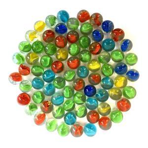 تیله شیشه ای گلدونه مدل سه پر چندرنگ بسته 100 عددی
