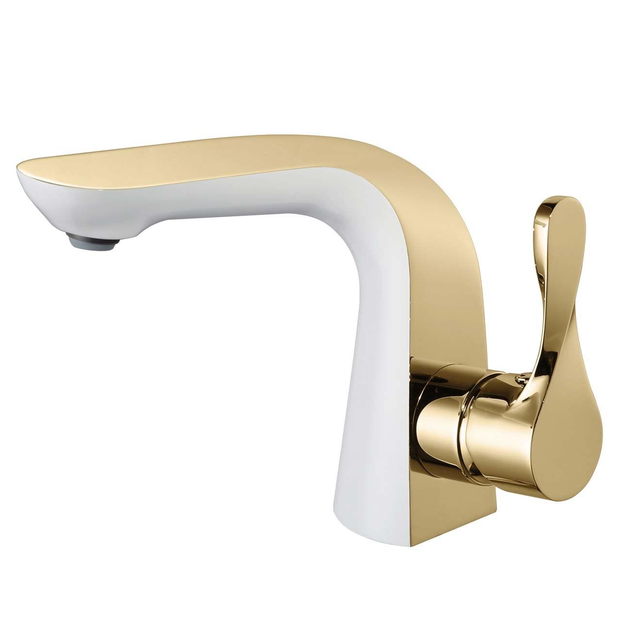 شیر روشویی الپس مدل ALPS طلایی سفید