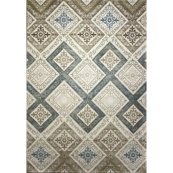 فرش ماشینی زمرد مشهد طرح 1726 زمینه کرم آبی