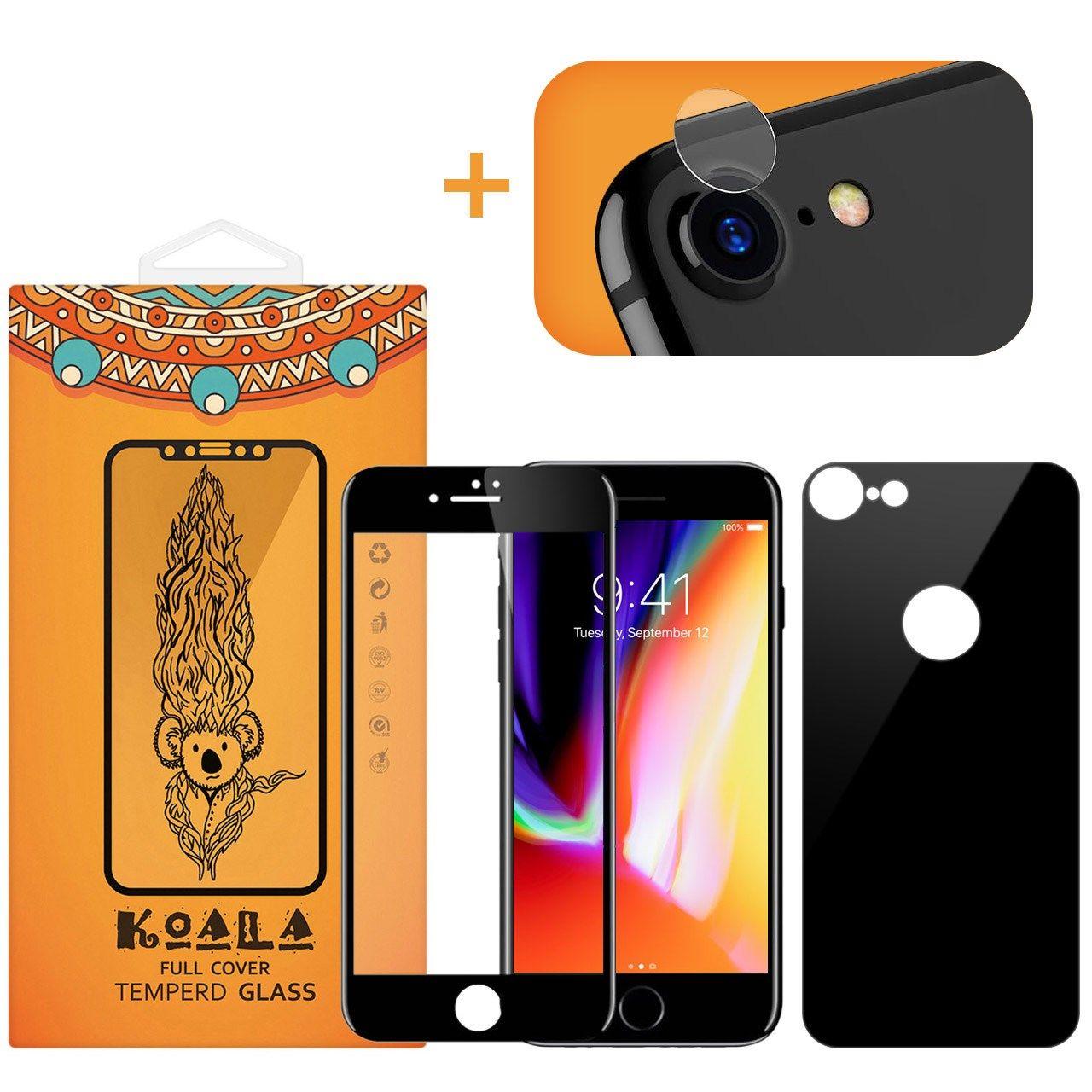 محافظ صفحه نمایش شیشه ای کوالا مدل Full Cover مناسب برای گوشی موبایل اپل آیفون 8 به همراه محافظ پشت Full Cover و محافظ لنز دوربین