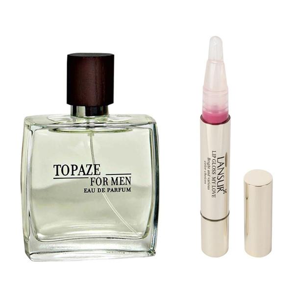 ادو پرفیوم مردانه استاویتا مدل Topaze حجم 100 میلی لیتر  به همراه  لاک لب لنسور سری My Love شماره 02