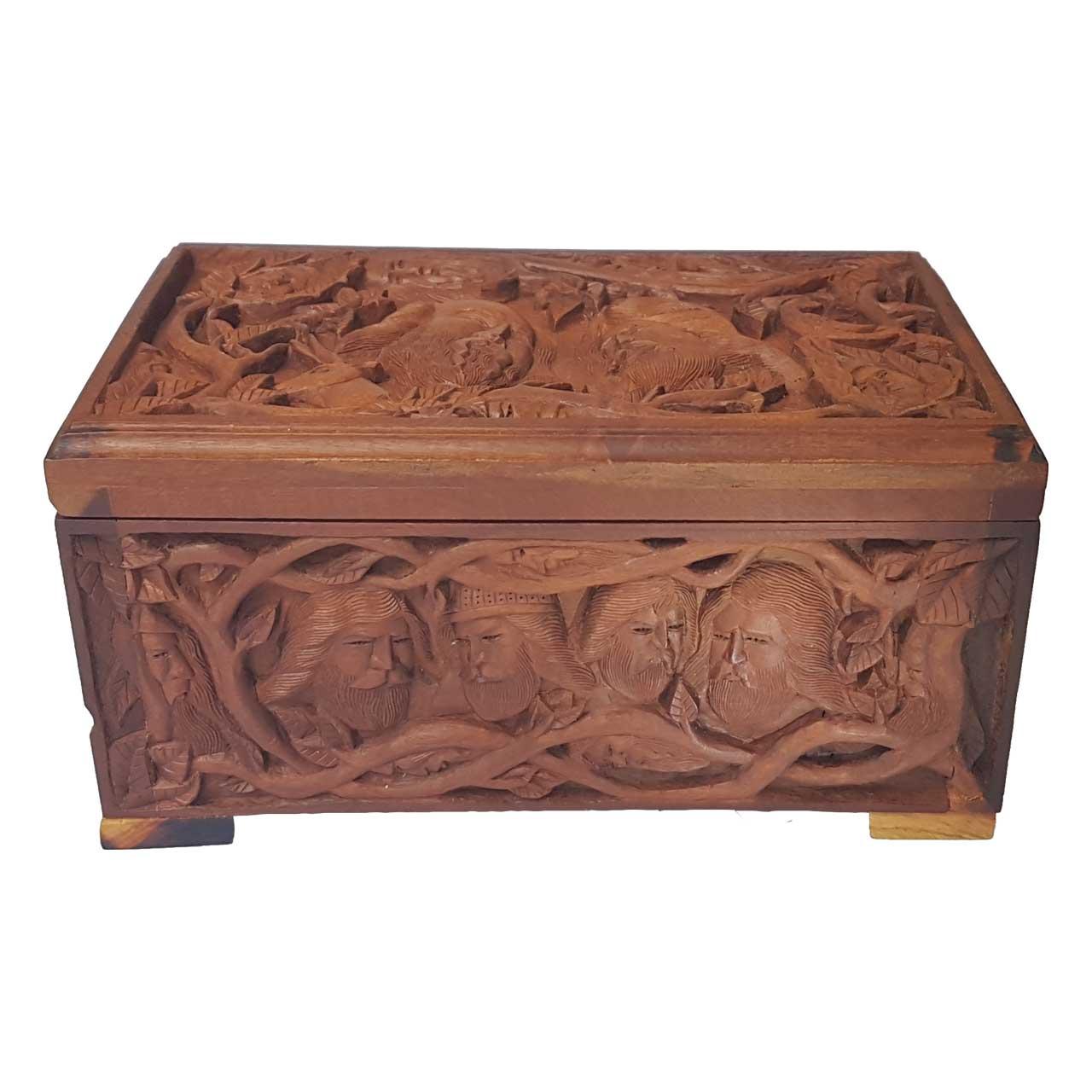 جعبه چوبی منبت کاری رنگین کمون کد 5317