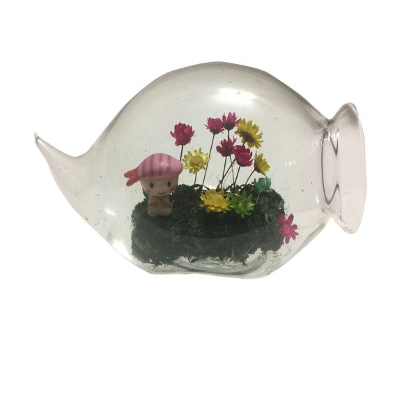 گل ماندگار به همراه گلدان شیشه ای عرش مدل B-108